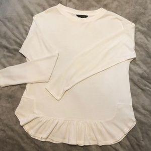 Banana Republic White Long Sleeve Ruffled Shirt
